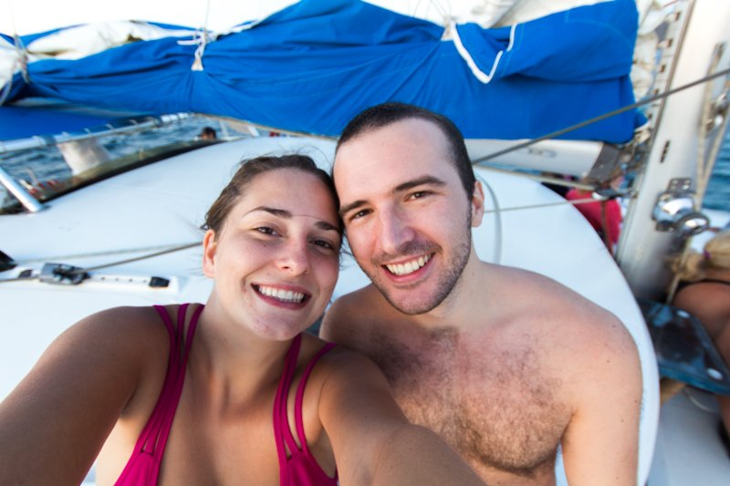 Chris and Virginie on the Catamaran