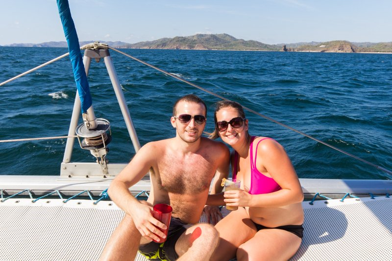 Virginie and Chris on the Catamaran