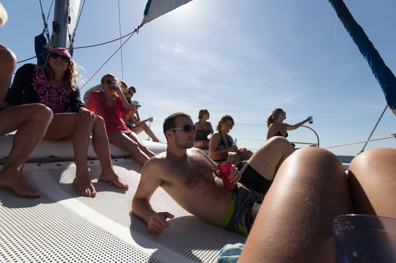 Friends on the Catamaran