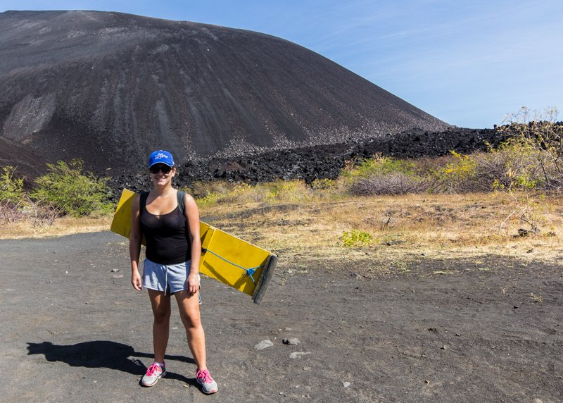 Virginie at the bottom of Cerro Negro
