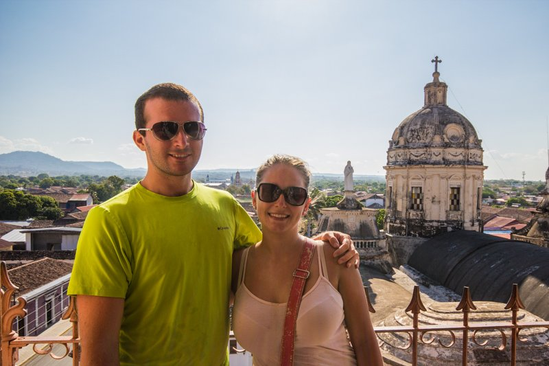 Chris and Virginie on the top of a church