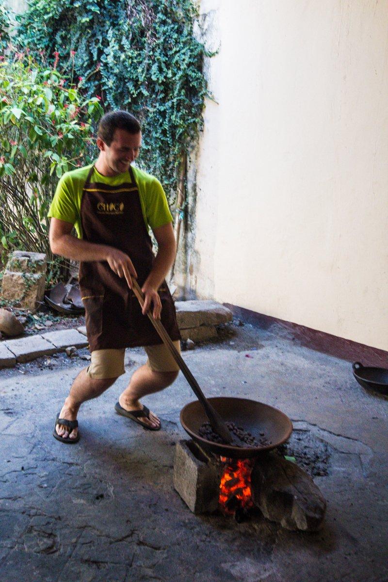 Chris Roasting Cocoa Beans